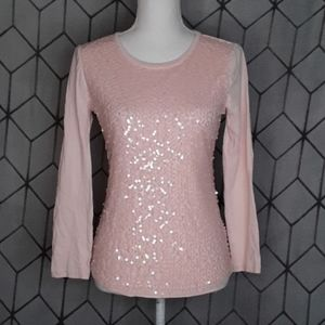 J. CREW Light Pink Sequins Blouse